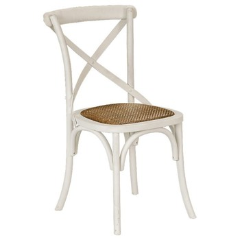 Unstackable White Wood Cross Back Chair With Rattan Seat Banquet Chair