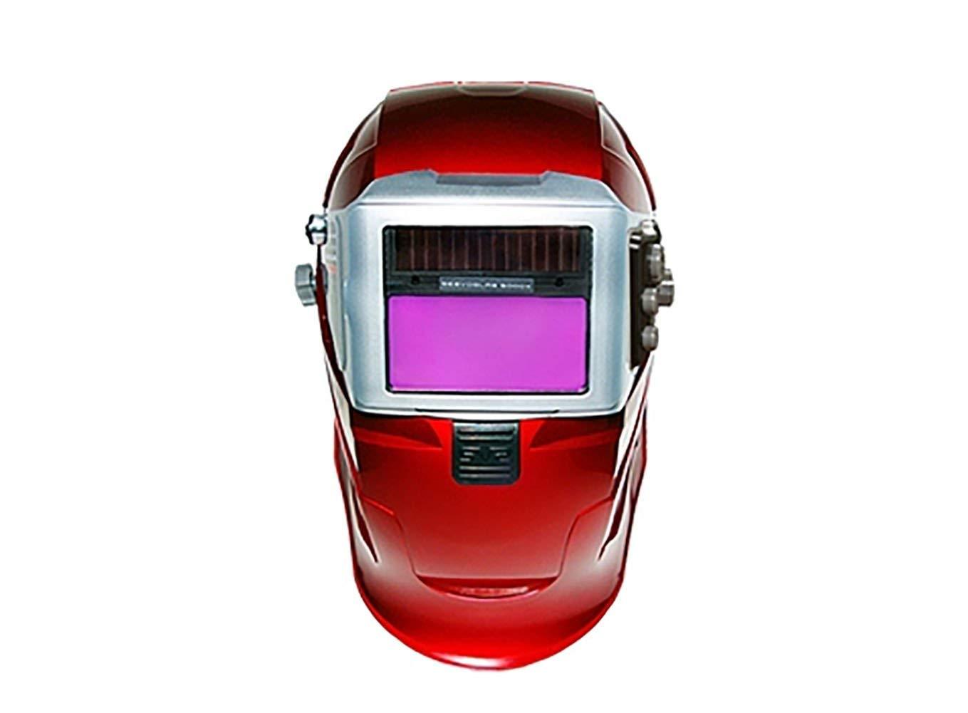 SERVORE 5000X - Slide Welding Helmet Welding Visor One-touch Auto Shade Automatic Darkening Extra Wide View Type (Red)
