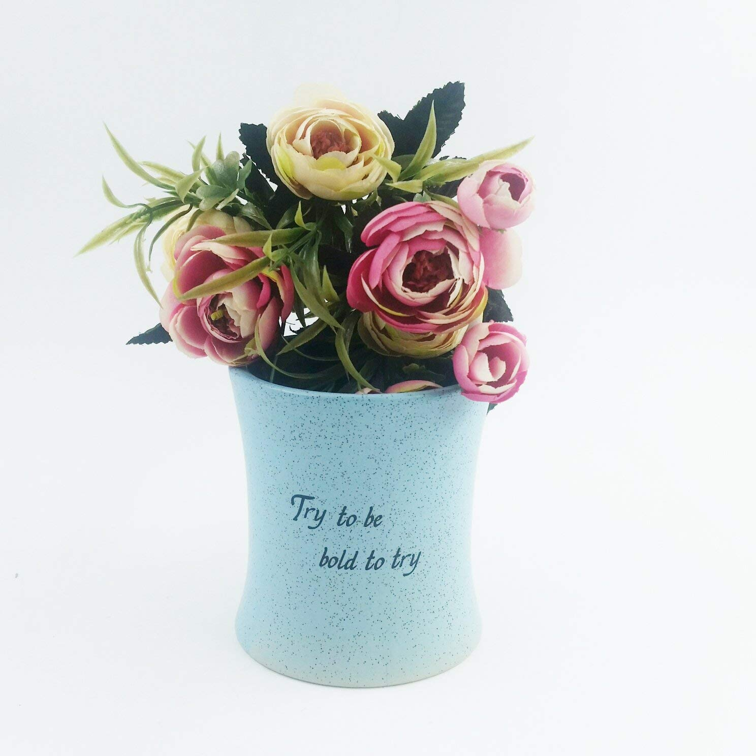 Better-Way Ceramic Vintage Planter Elegant Pots Decorative Vases Flower Floral Container for Indoor Plants Succulents, Orchid Flowers, Herbs 3.3 inch (Shabby Chic, Blue)