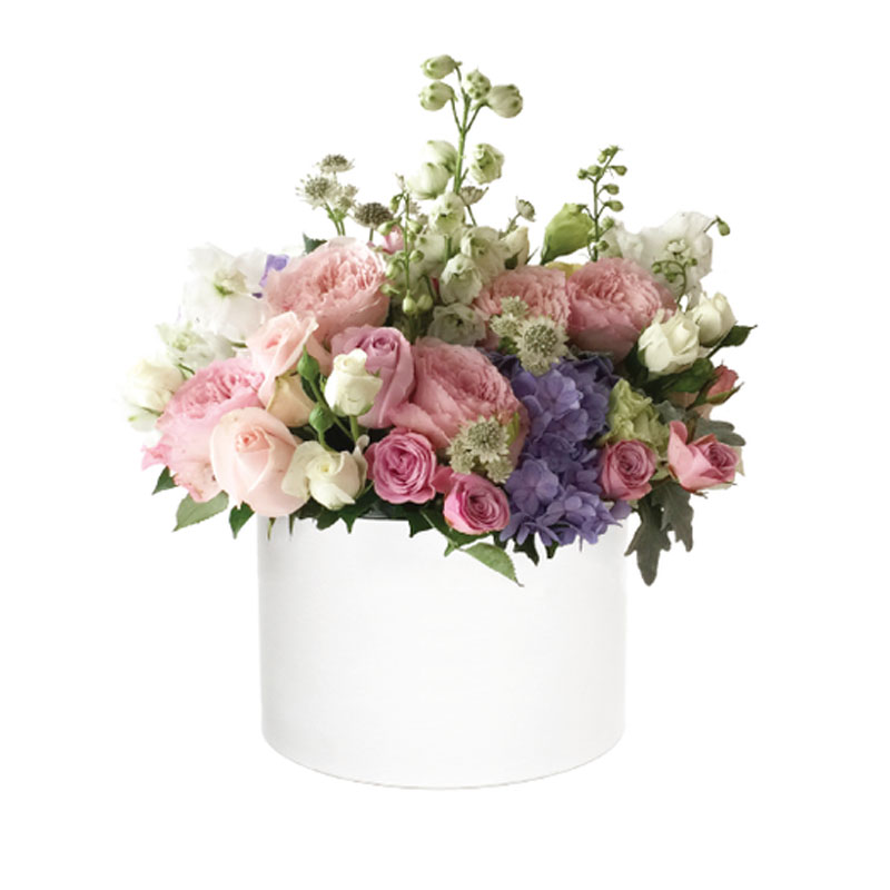 Luxury Custom Round Cylinder Hat Birthday Gift Clear Flower Box
