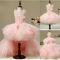 NW1311 Venice Lace Top with 3D flowers Party Girl Dress Skirt Train Detached Children Gown