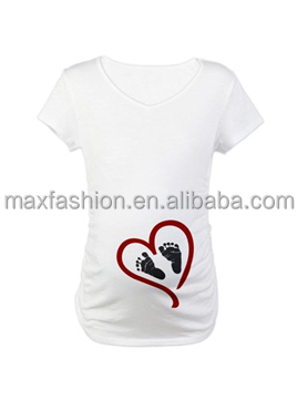 China Supplier Baby Red Heart Feet Cotton Graphics Print Maternity T-Shirt, Cute, Comfortable And Breathable Maternity T-Shirt