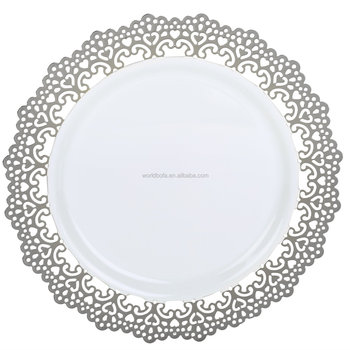 Elegant Disposable Plastic Plate Dinnerware with Silver Lace Trim