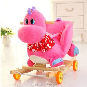 3-16 month body ride on animal toy body Plush Trojan rocking horse with music