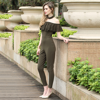 Cheap Army Green Off Shoulder Ladies Jumpsuit For Women 2018 Buy
