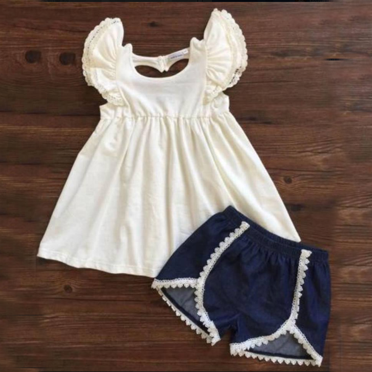 Latest Summer Kids Clothes Boutique Outfits Cotton Clothing Sets Denim Pant Baby Clothing Sets For Girls