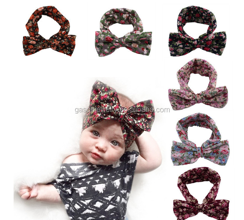 2017 Hot Sale Bohemian Style Printing Bow Elastic Flower <strong>Headband</strong> For Kids