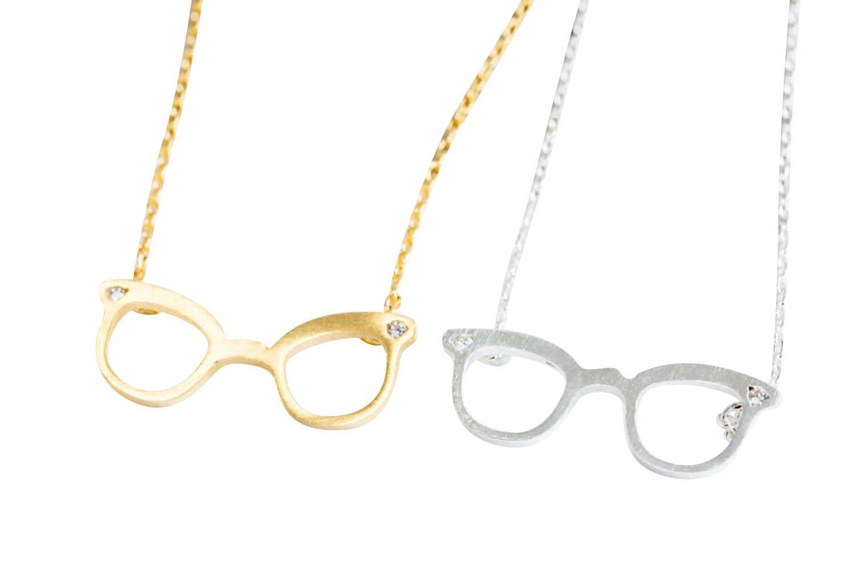 Unique Eyeglass Necklace-ea , eyeglass necklace, eyeglass shape necklace, eyeglass pendant jewelry, charm necklace, crystal necklace, fashion necklac