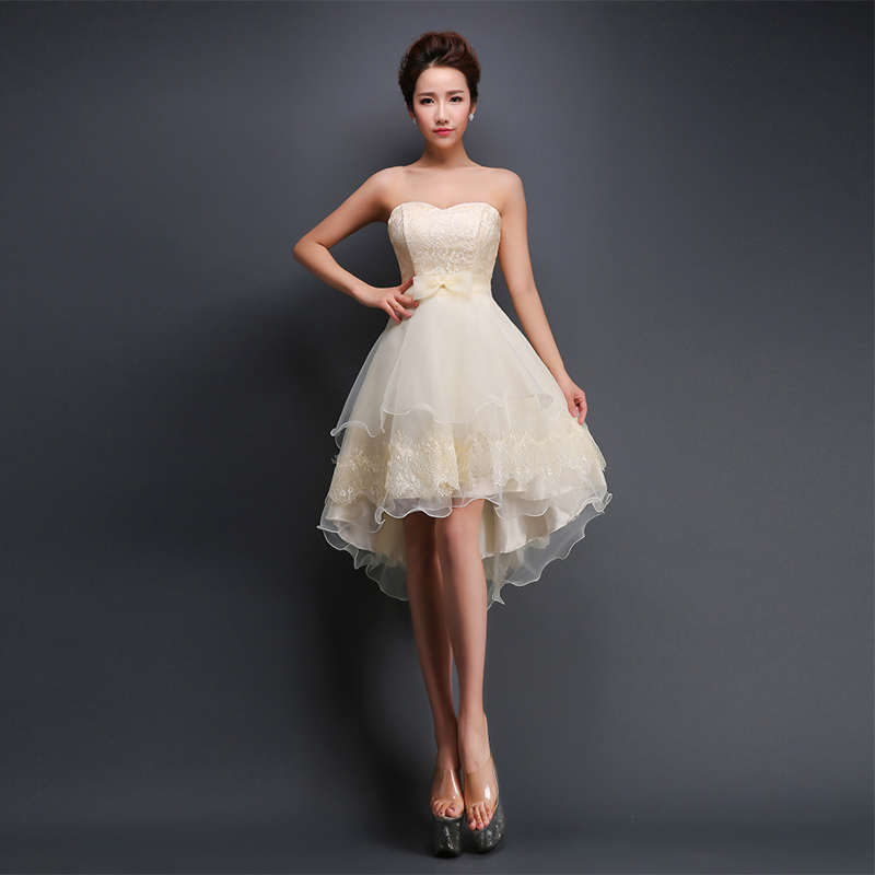 Champagne Lace Short Dress: 2015 New Bridesmaid Dresses Champagne Lace Sweetheart