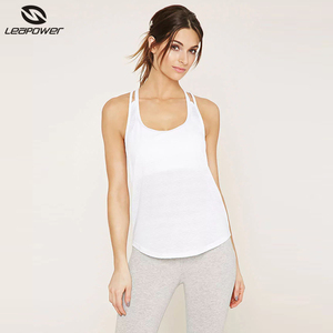 Custom wholesale stringer gym fitness yoga white tank top blank women