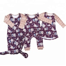 Kids Dress Matching Romper BabtFloral Baby Girl Sister Outfits Boutique Clothing Sets