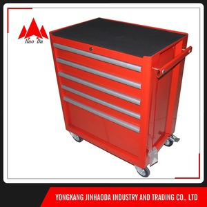 5-drawer Central Lock roller box red serviceable tool cart 6 drawers middle js-30 Rolling Tool Cabinet