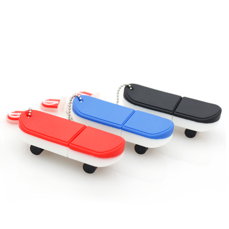 OEM design promotional custom logo skateboard usb flash drive