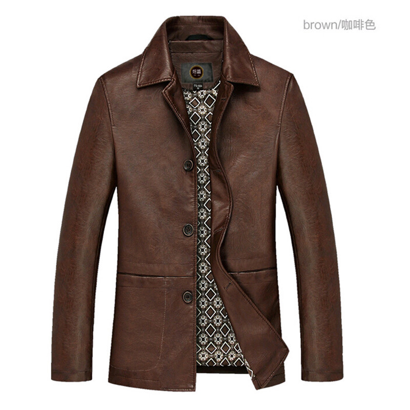 2015 Men's leather jacket highe quality PU leather winter ...