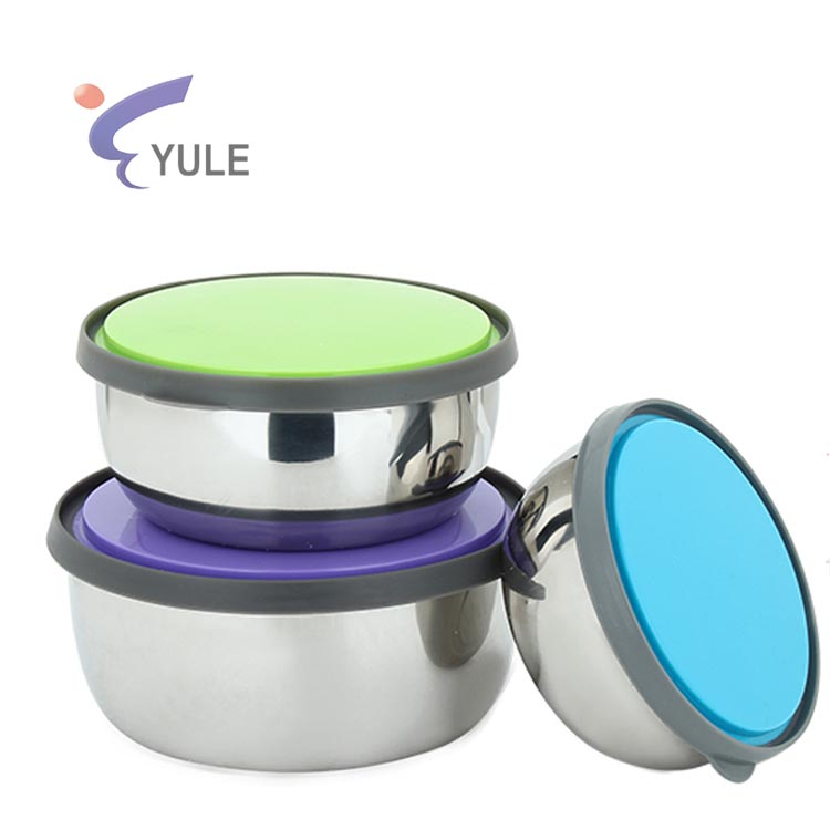 Leak-proof set of 3 stainless steel lunch box for promotional gift