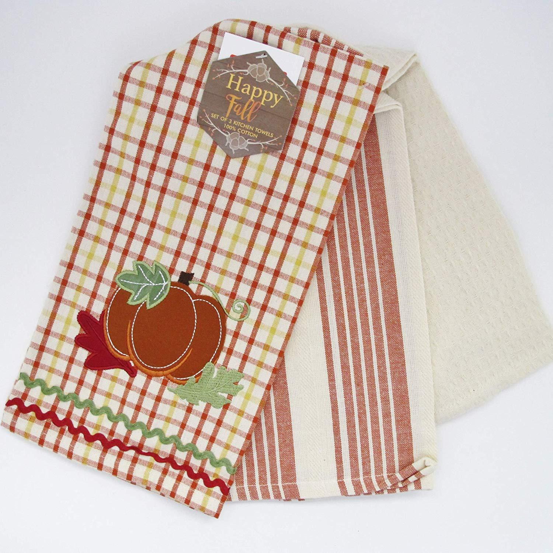 3 Piece Fall Autumn Kitchen Towel Set ~ Embroidered Applique Pumpkin
