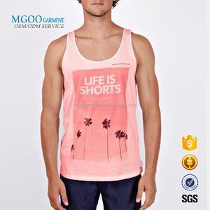 e8af1c95 MGOO Garment Custom Photo Print 100% Cotton Regular Tank Tops Beachwear  Pink Singlets Sleeveless T