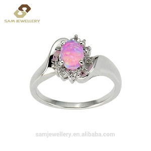 Fashion Flower Shaped Oval Fire Pink Opal Halo Cubic Zirconia Sterling 925 Silver Engagement Ring for Women Jewelry