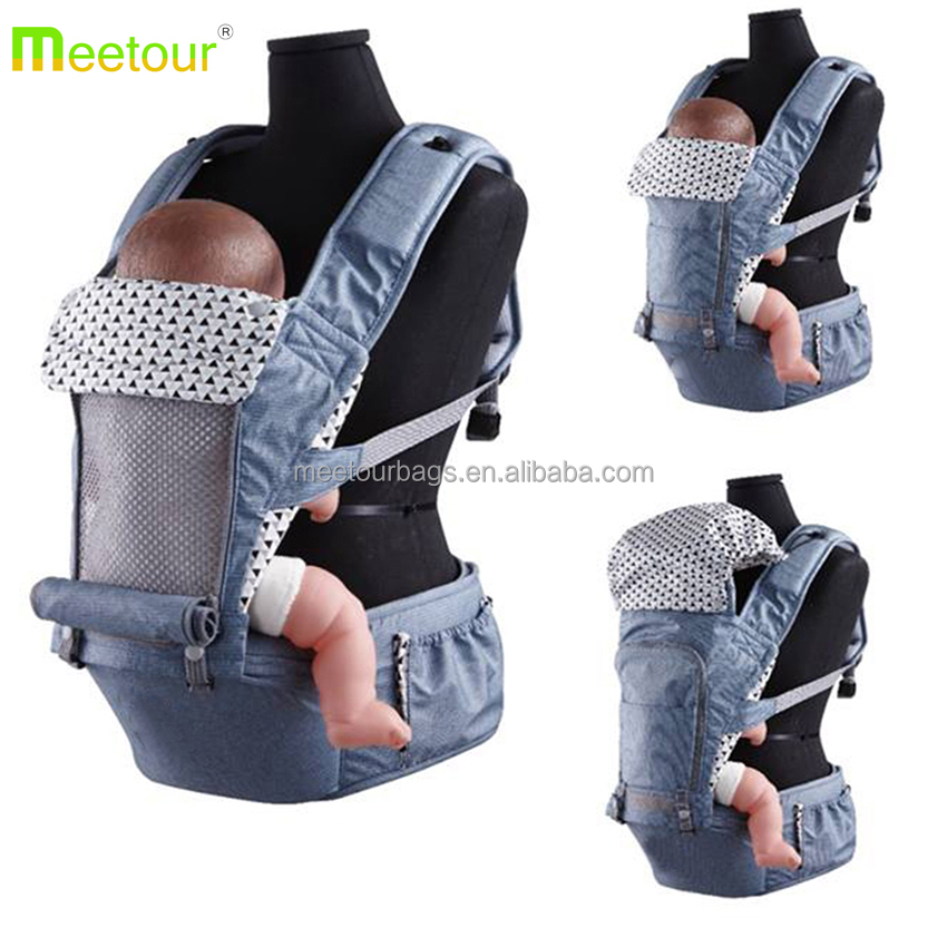 2017 Organic cotton baby carrier 6 in 1 ergonomic baby carrier 3D mesh hipseat baby carrier