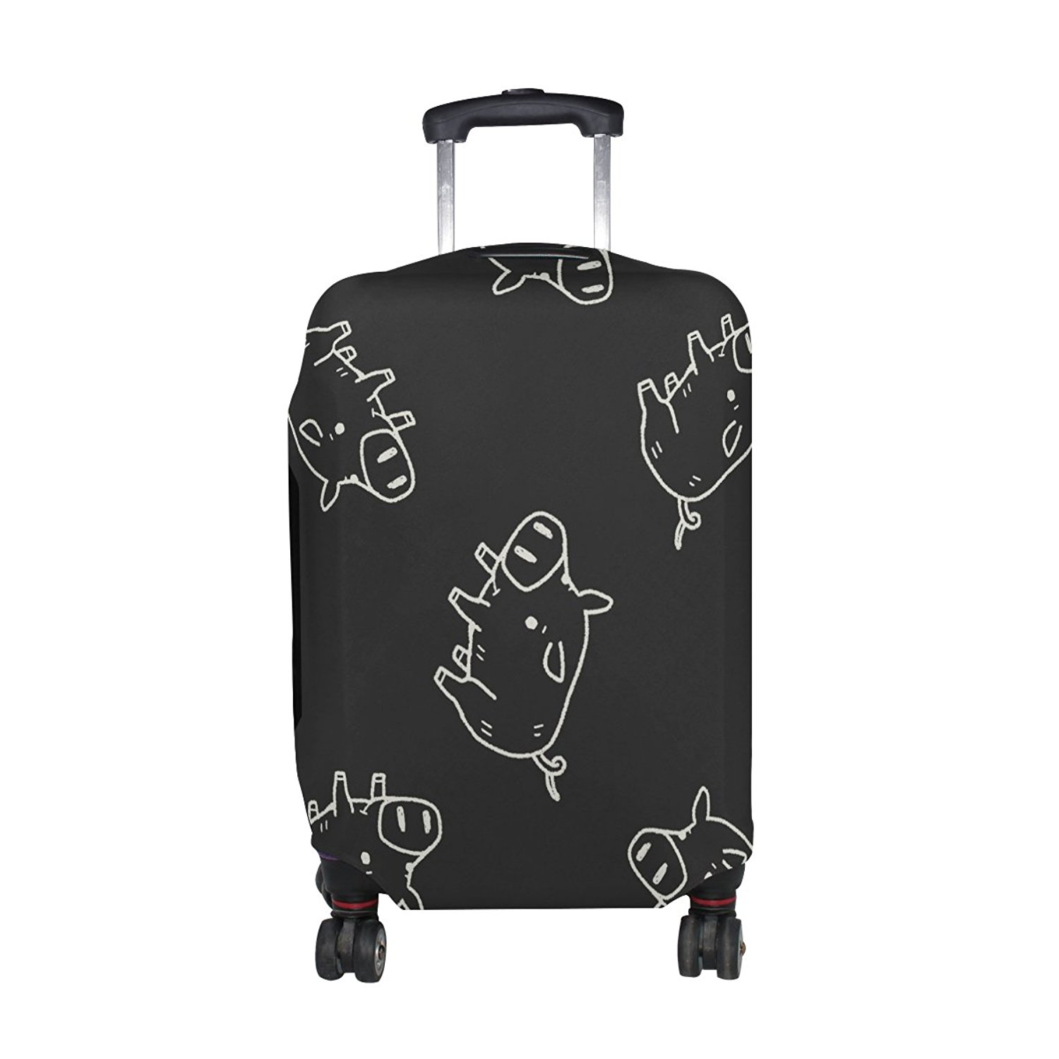 Super Elastic Travel Luggage Cover Angry Skull Anti-scratch Baggage Suitcase Protective Cover Fits 18-32 Inch Luggage
