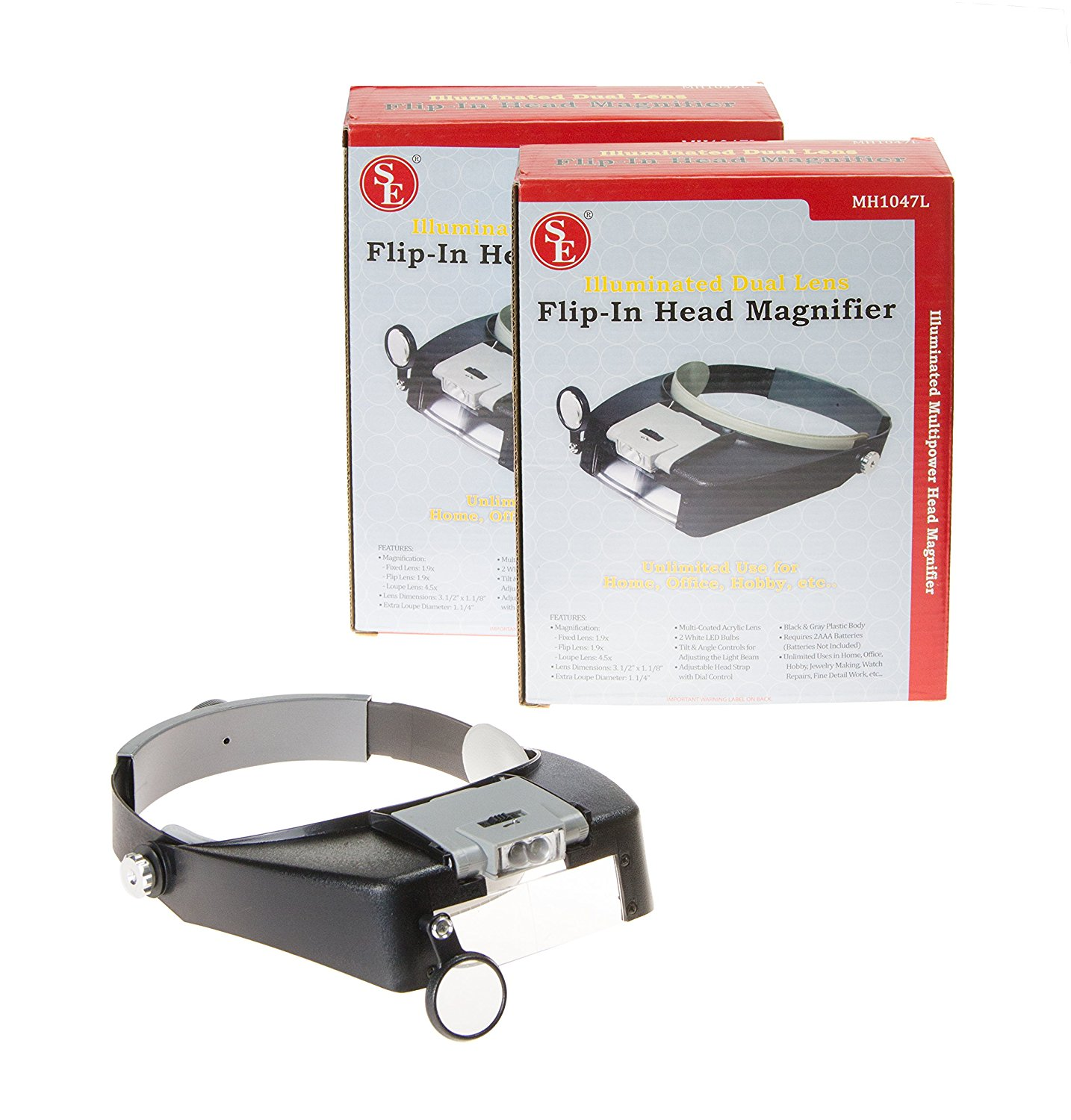 SE MH1047L-2 Illuminated Dual Lens Flip-in Head Magnifier (Pack of 2)