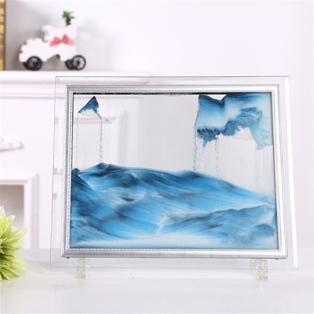 Queenie Flowing Sand Frame Abstract Scenery Rectangle Glass Sandscape Desktop Art Moving Sand Painting Black White Purple