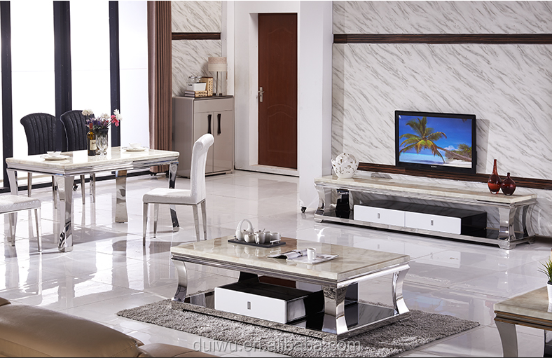Modern Dining Hall Long White Marble Tv Cabinets