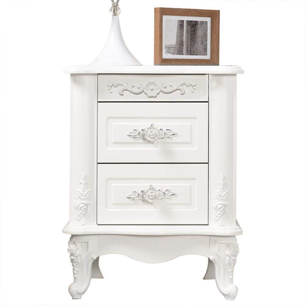 Emma Home Nightstand Bedside Cabinet Solid Wood White Bedside Cabinet Bedroom Corner Cabinet Storage Cabinet (Color : E)
