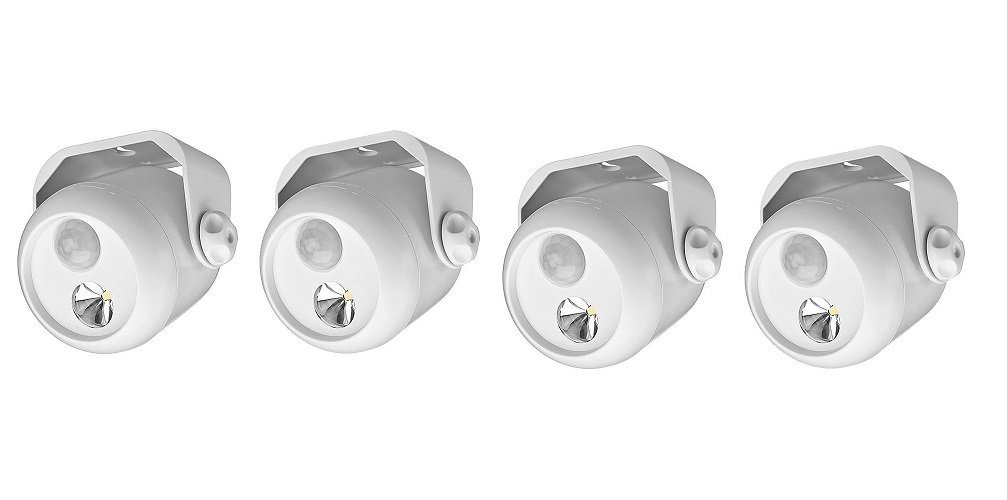 2 Pack (4 lights) of Mr. Beams MB302 Wireless LED Mini Spotlight with Motion Sensor and Photocell, 80-Lumens, White, 2-Pack (4 lights)