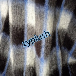 FY150412 Wool Knitting Fabric for Coat Brushed Mohair Plaid Knit Fabric