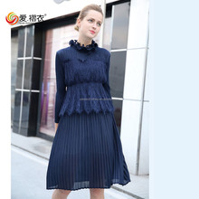 Office wear formal dress Mature women neck lace dresses with fake two pieces design