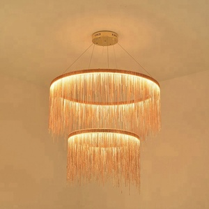 MD4016 Aluminum chain rose gold hanging pendant light LED waterfall chandelier