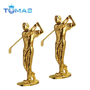 Wholesale trophy souvenir custom metal golf trophy plastic golf figurines