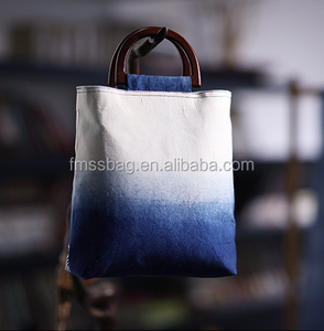 12oz Heavy canvas cotton denim blue tote bag with wooden handle