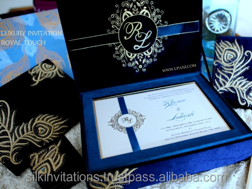 Velvet Royal Wedding Invitation With Gold Floral Embroidery