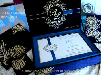Velvet Royal Wedding Invitation With Gold Floral Embroidery Buy