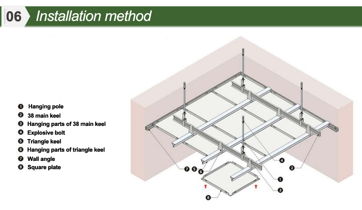 2018 Waterproof Square Aluminum Types Of Suspended Ceiling