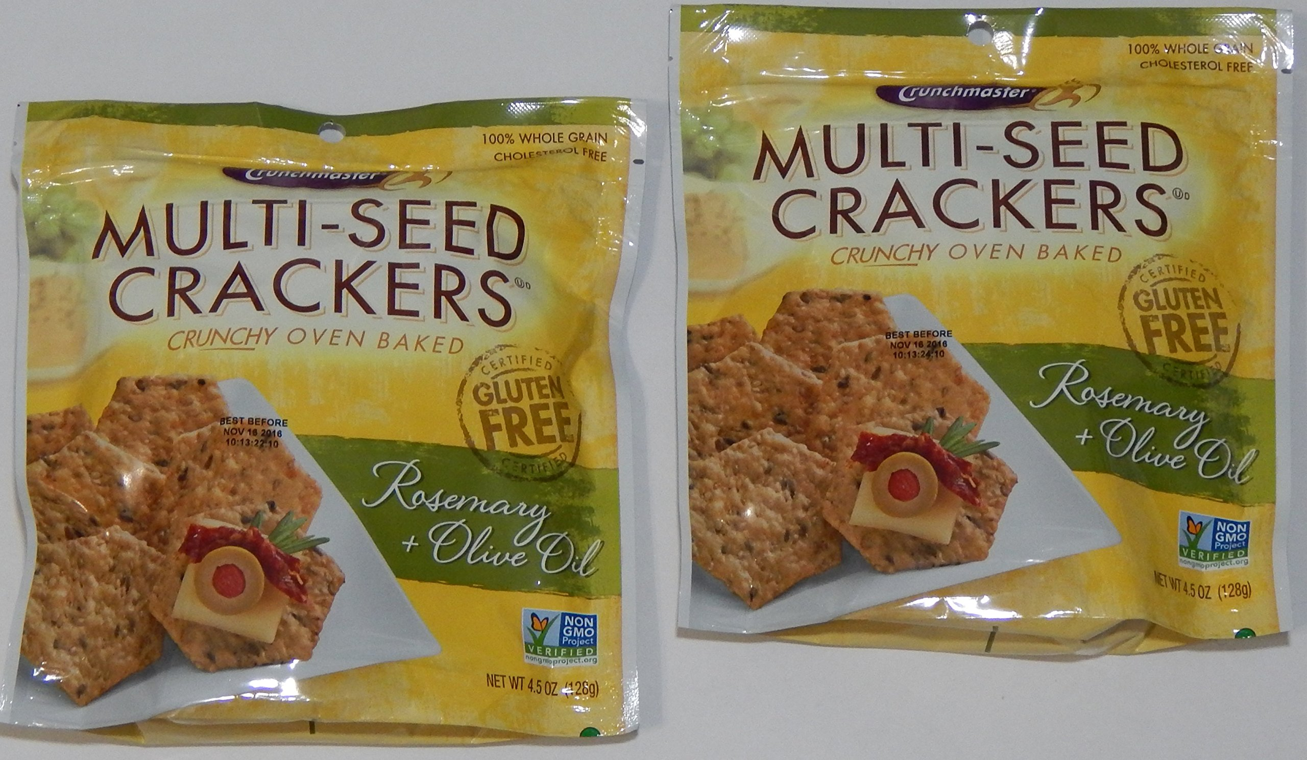 Crunchmaster Multi-Seed Crackers, Rosemary & Olive Oil, 100% Whole Grain Non-GMO, 4.5 Oz. (Pack of 2)