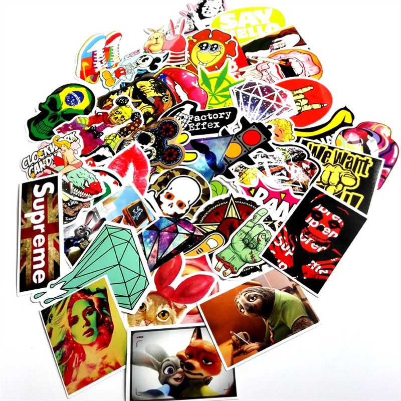 2016 50pcs Mixed Stickers for Snowboard Skateboard Car Fridge Laptop Luggage DIY Styling Vinyl Decal home