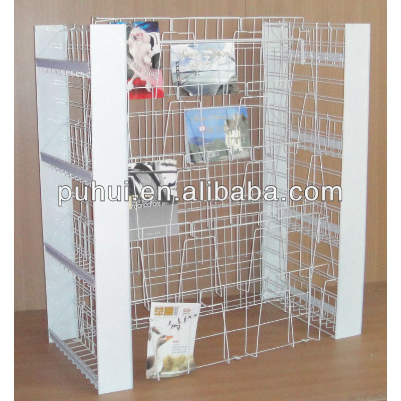 retail book store Island calendar stand  metal wire shelf floor magazine publishings steel display rack with multi function