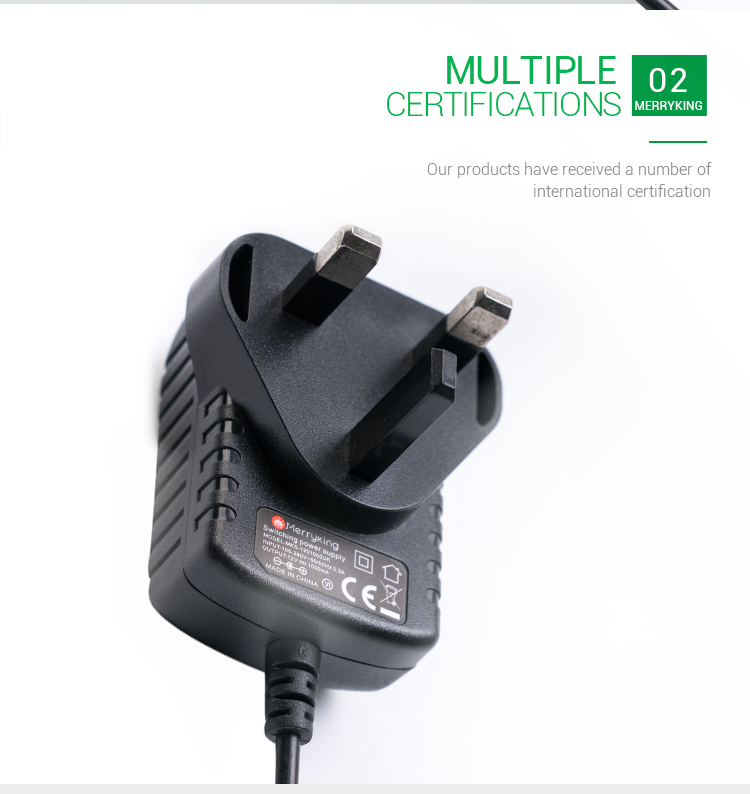 3 Pin Wall Plug AC DC Power Adaptor 12V 1A Adapter With BS