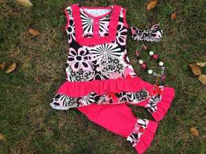 2015 new hot girls hot pink flower sleeveless capri set outfits with matching necklace and headband
