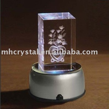 3d Laser Crystal Cube,Crystal Block With Led Base Mh-4120