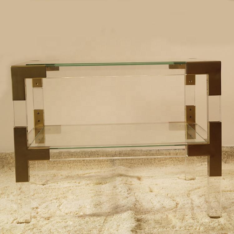 Mondi lontano stile moderno 2 tier PMMA materiale acrilico tavolino mobili soggiorno