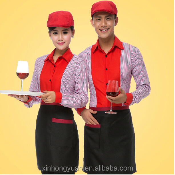custom new fashion strip restaurant waiters and waitresses workwear shirts
