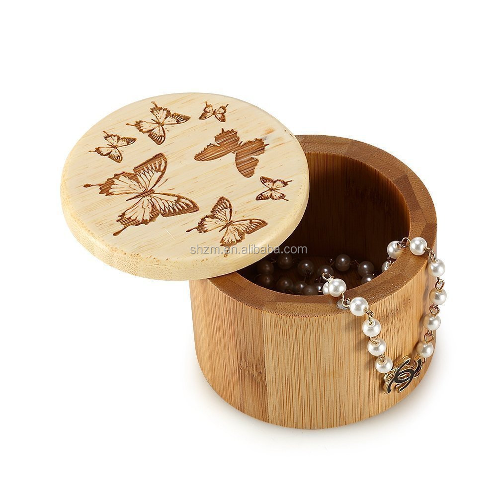 Bamboo Round Unique Jewelry Boxes/Gift box with Lid Jewelry Container Storage