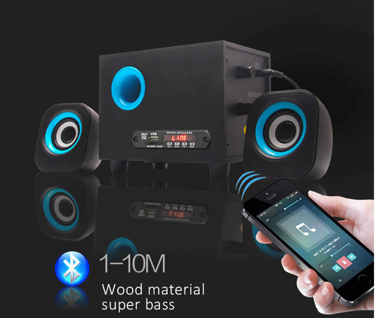 wooden Multimedia Speaker 2.1 portable surround sound speakers
