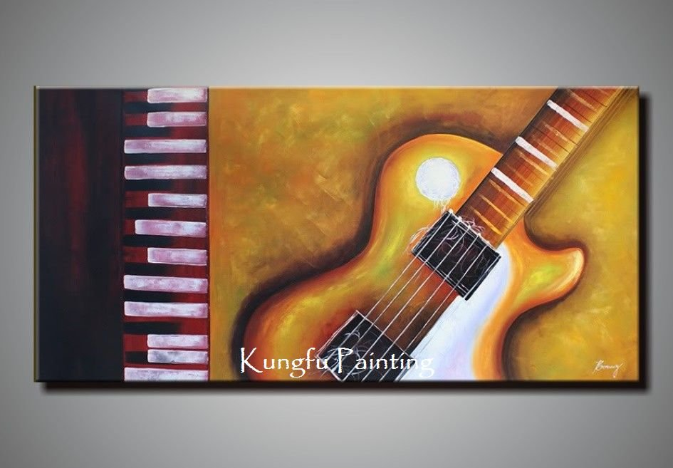 100% hand painted discount huge abstract music paintings ...