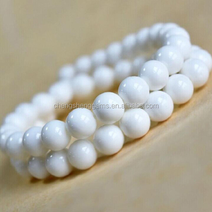 8mm Natural Round Smooth Solid White Agate Loose Beads For Bracelets