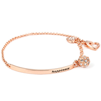 Wholesale Top Quality OL Style Cubic Zirconia Rose Gold Color Ball Fashion Party Bangles Jewelry Charm Bracelets